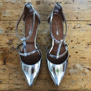 JEFFREY CAMPBELL T-Strap Mary Jane Silver Shoes
